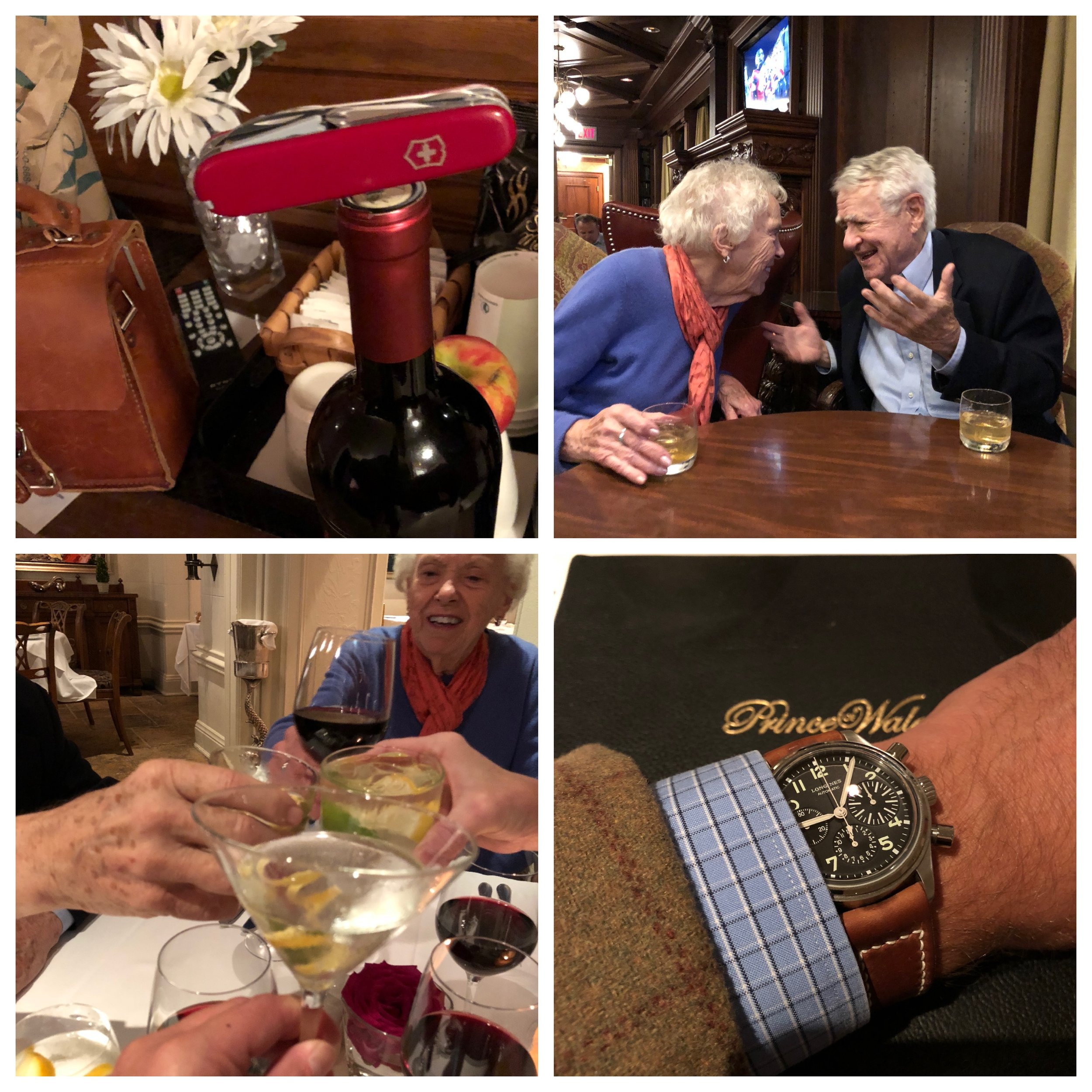 Clockwise from upper left: the brilliant Victorinox Yeoman; Ron and Rosemary; the BigEye; cheers!