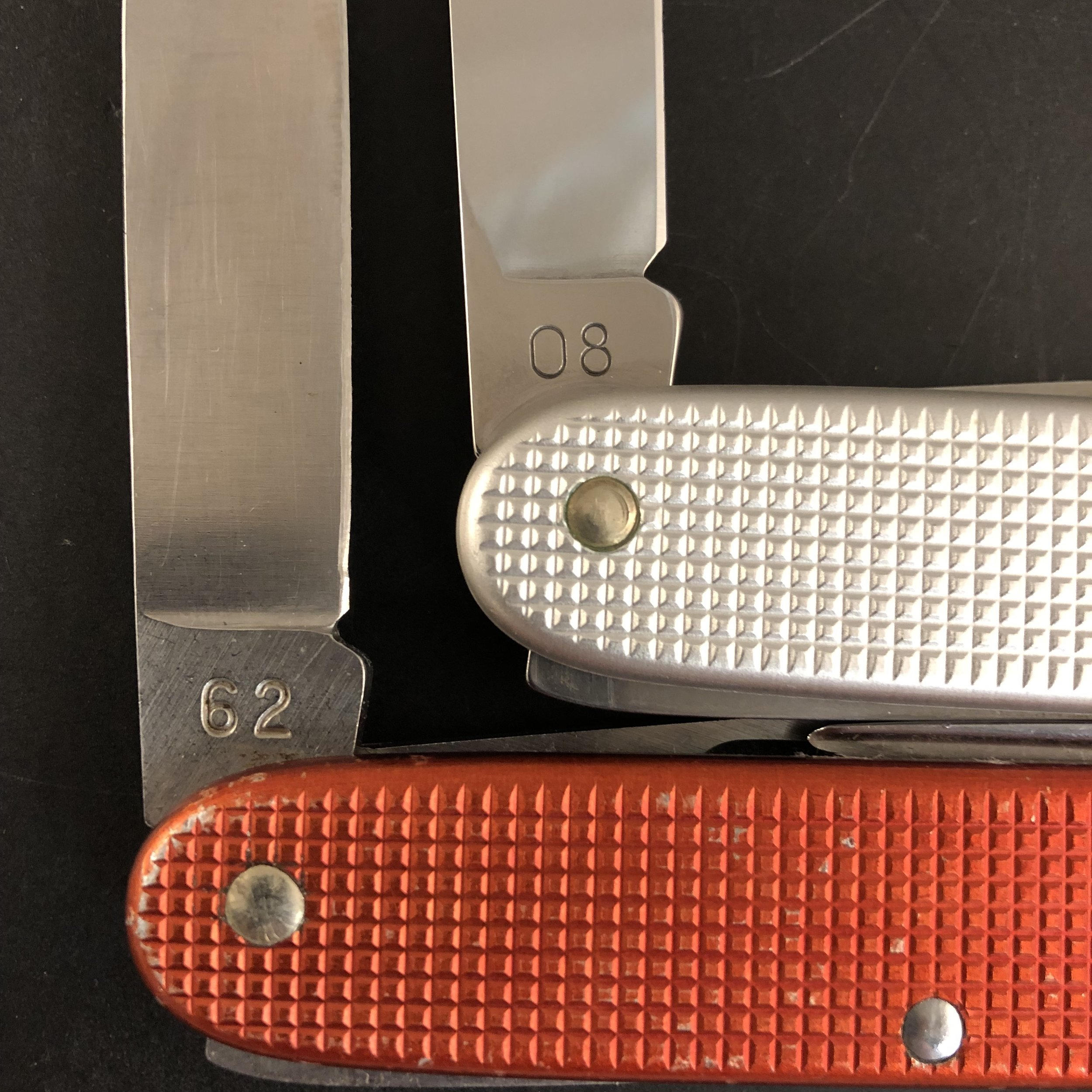 Bookended Soldiers from 1962 to 2008, first and last years of production for Victorinox.