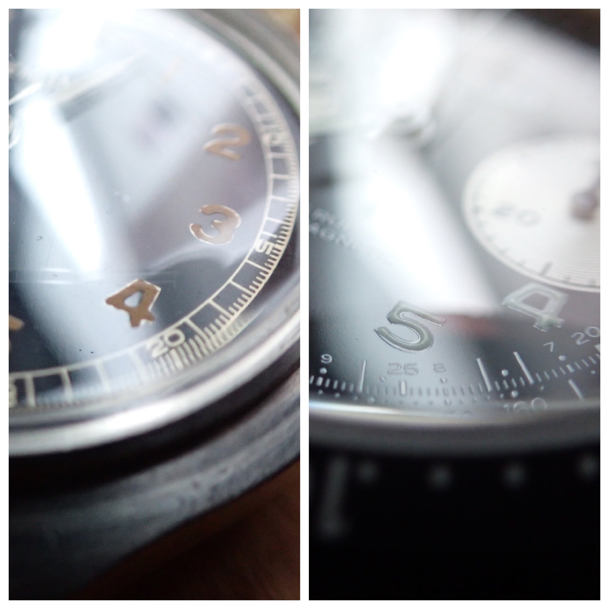 Luminescent dial details of the Lemania Tg 195 (L) and Guinand Model 361 (R).