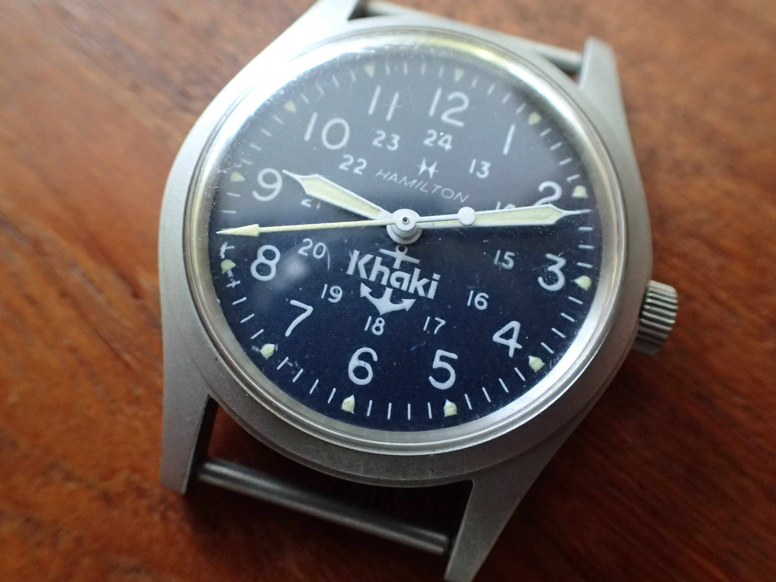 The Hamilton Khaki Mate. Note the blue anchor dial.