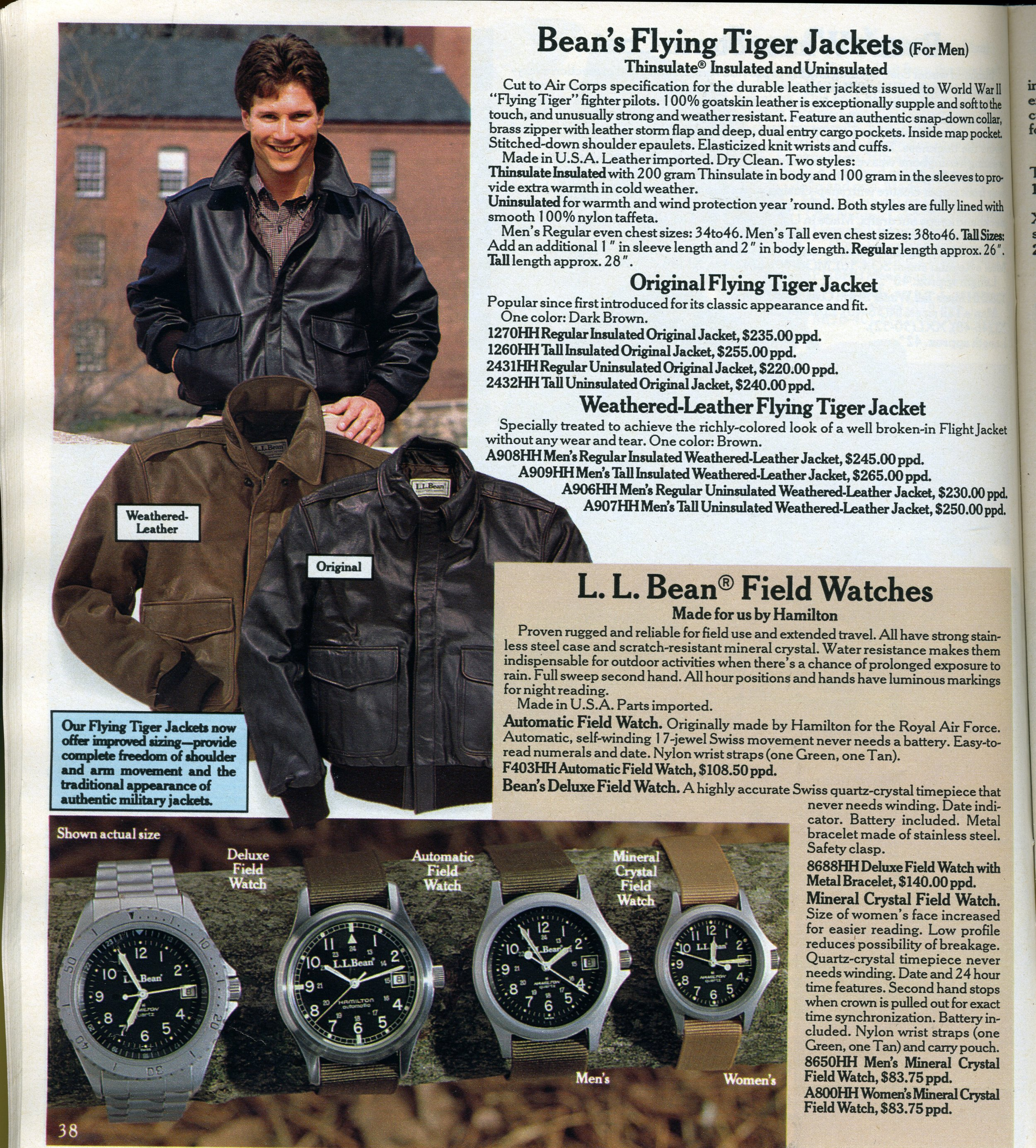 The Fall 1990 LL Bean catalog. The reference 9721 makes its brief appearance, and the round-cased 33 mm Field Watch is gone for good.