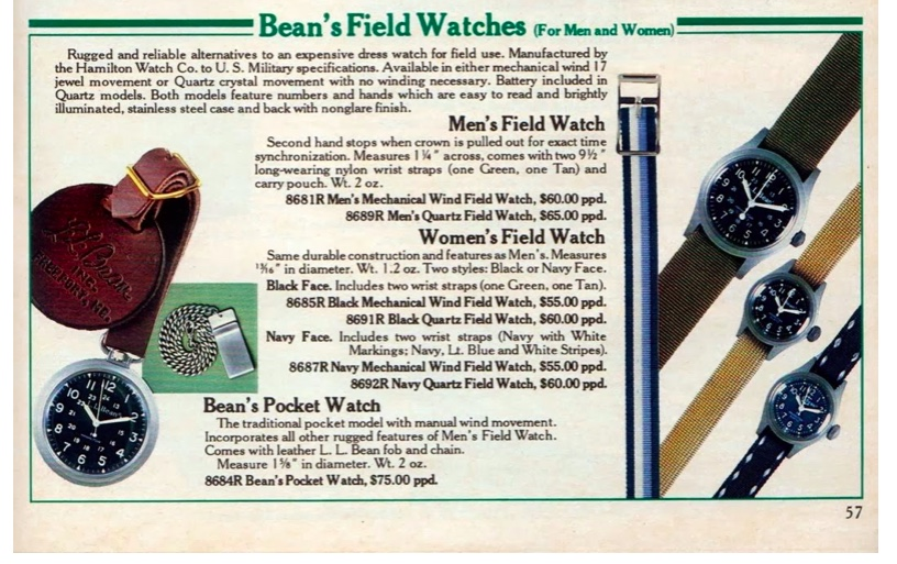 """A late-70's-early 80's LL Bean catalog shows the round-cased 33 mm men's Field Watch available in both mechanical and quartz versions. Note the ladies' watches were also available with both mechanical and quartz movements, and in regular black dial and anchor-dialed """"Navy"""" versions."""