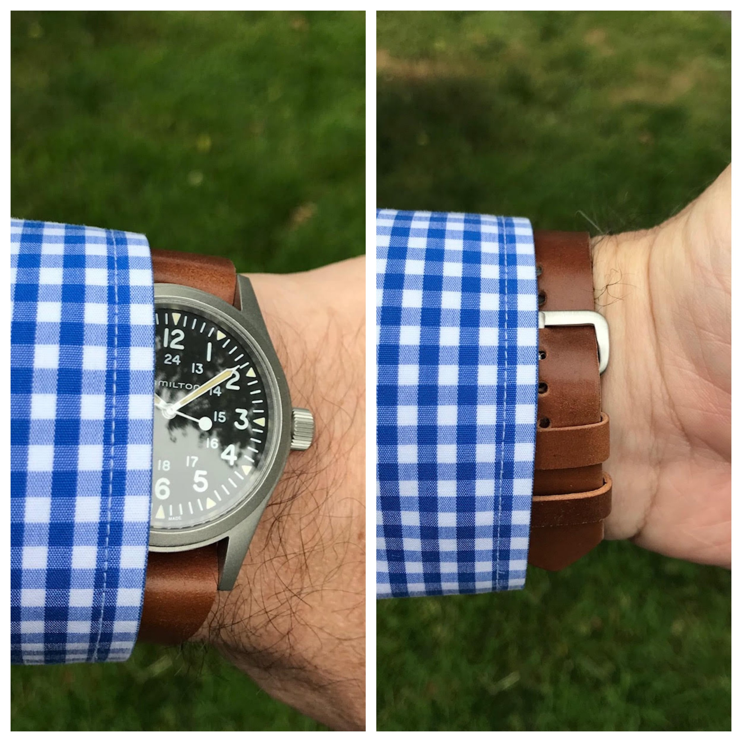 Beautiful Hamilton field watch on a one-piece with two fixed keepers. This watch and strap combo are a Rover Haven favorite!