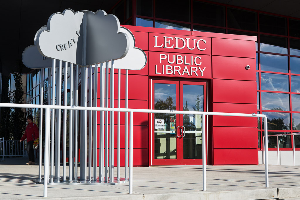 Cloud at library entrance
