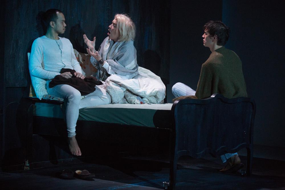 Jon Norman Schneider as Claude, Suzanne Bertish as Eleanor, and Devin Norik as Dash.