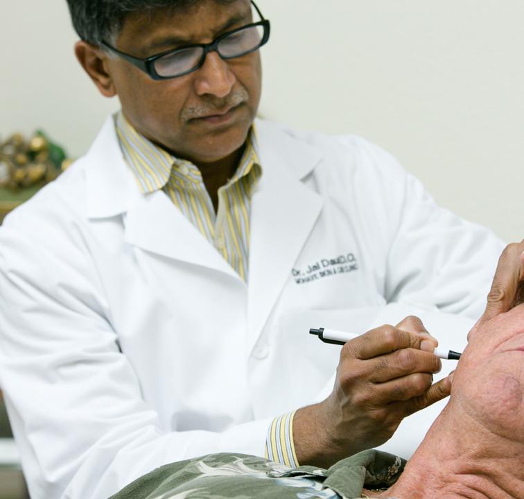 Dr. Daulat marking an area for Mohs procedure.