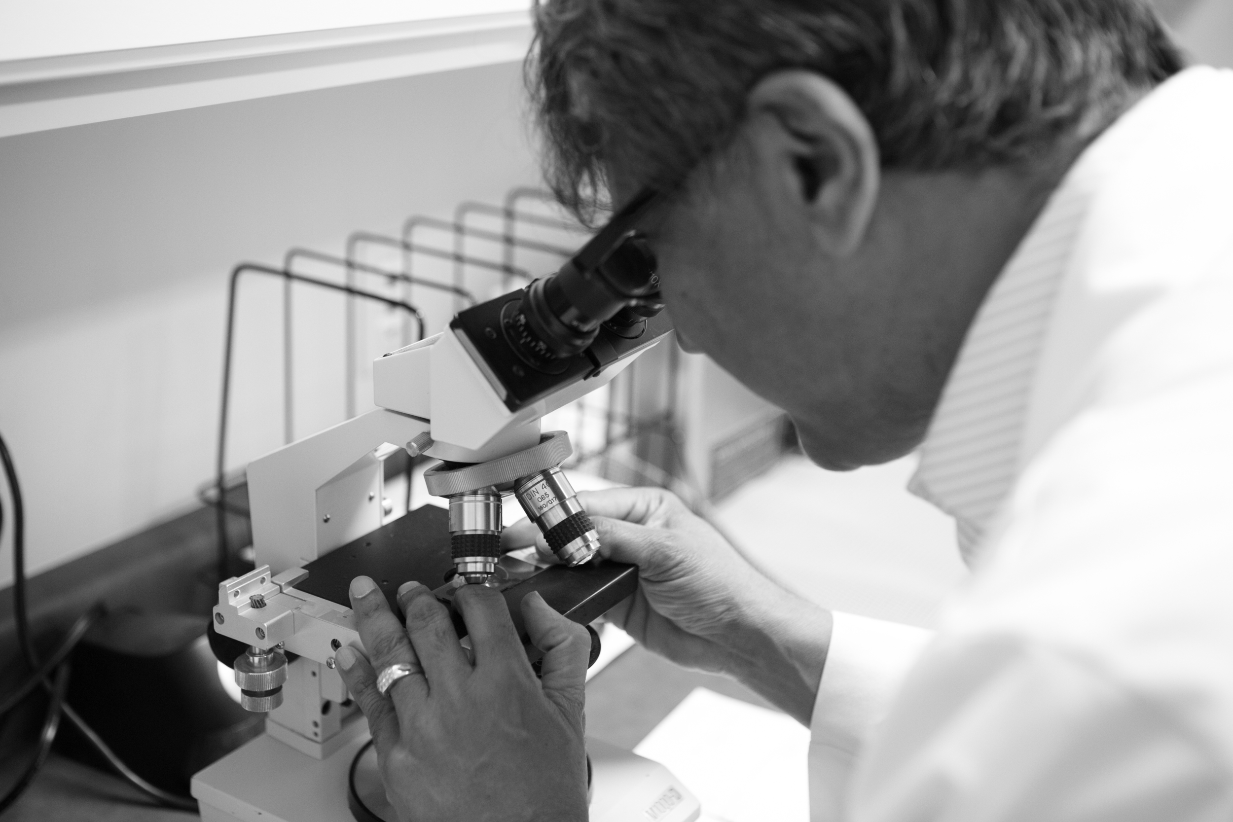Dr. Daulat checking tissue from a Mohs procedure in the lab.