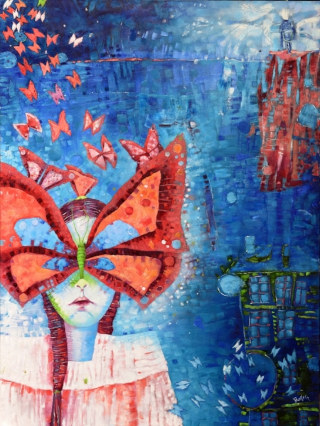 Butterfly Lessons, oil on canvas, 48 x 36, $2600.00. Available for purchase at Providence Gallery, Charlotte, NC
