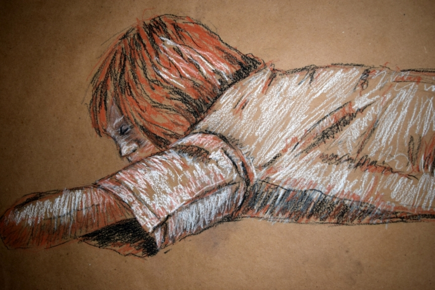 The end of the day. Conte Crayon