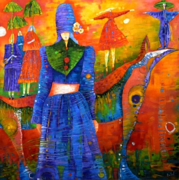The Woman's Magic Hat, oil on canvas, 40 x 40, $2400.00. Available for purchase.