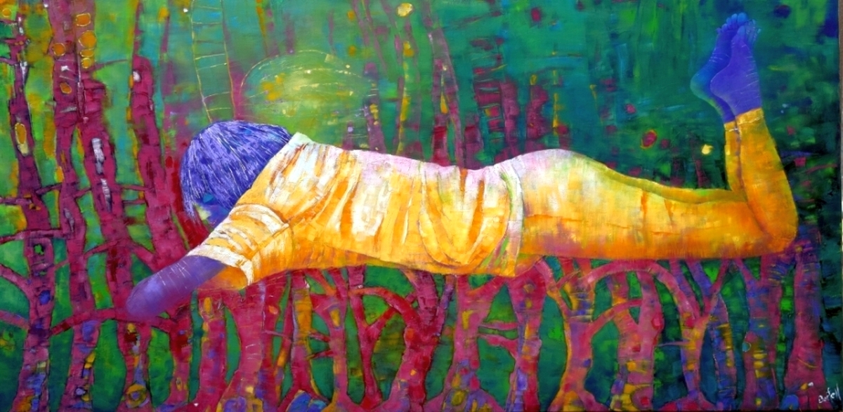 Floating Above the Third Dimension, oil on canvas, 24 x 48. $1700.00