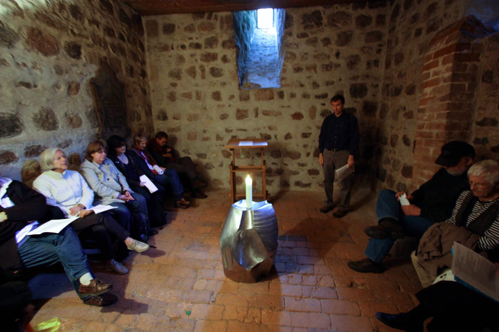 Paying with friends from the Antioch Network in a chapel of Luther's church in Wittenberg