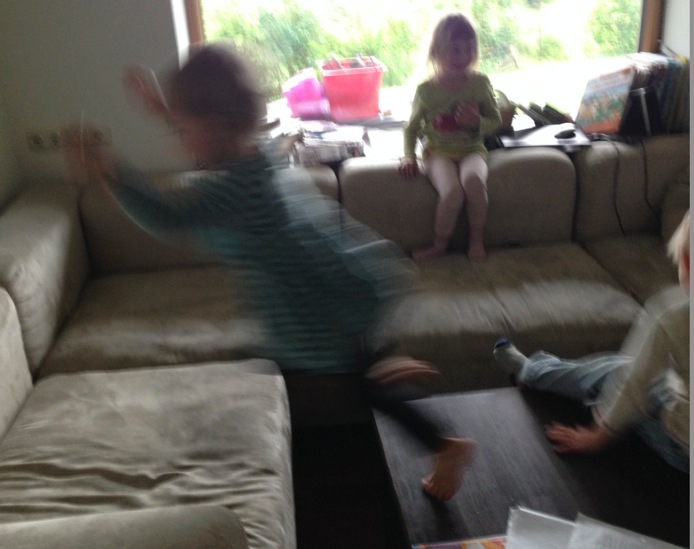 The little ones turned George and Maria's living room into an indoor playground.