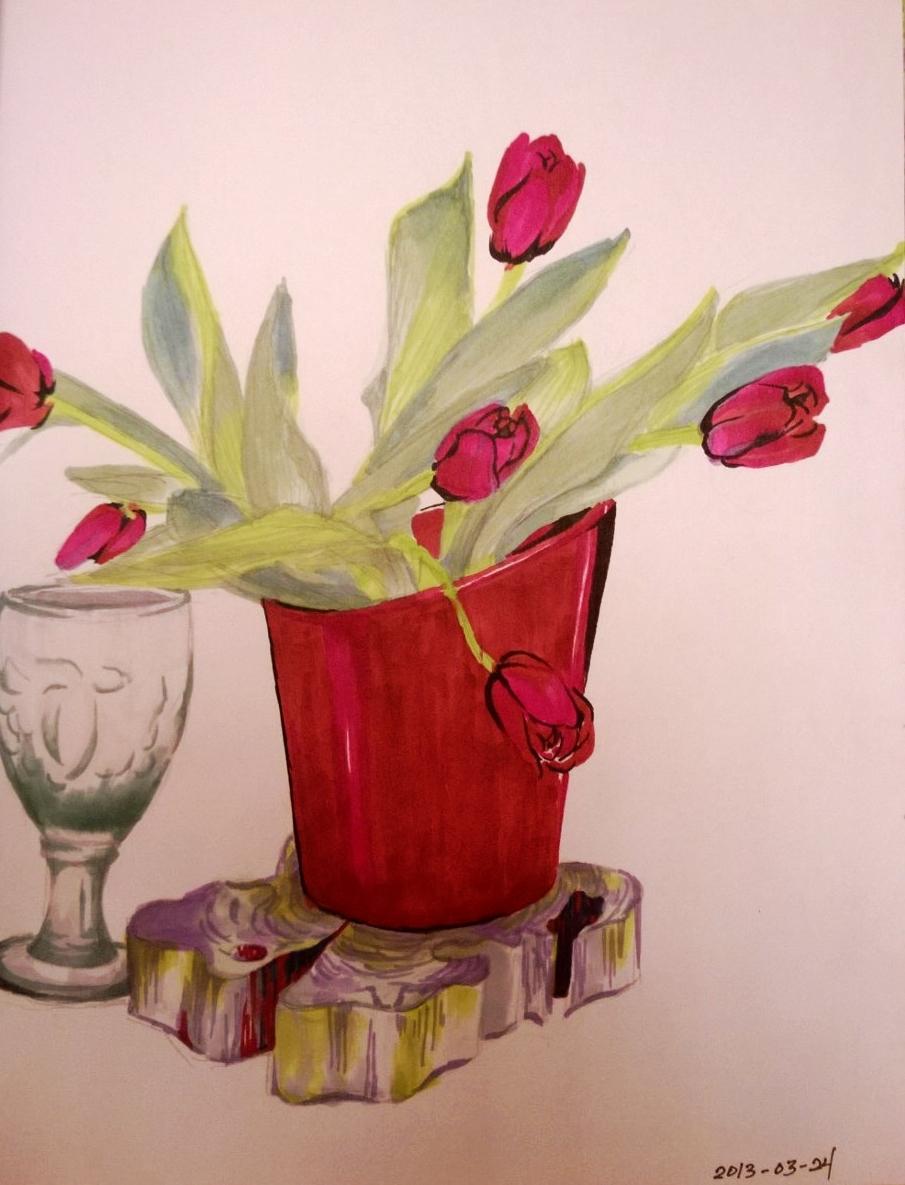 Tulips on Cedar, 11.5 x 8 inches