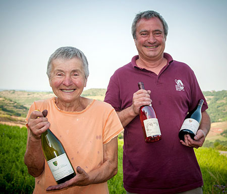 Philippe Teullier and his mom, local vineyard owners