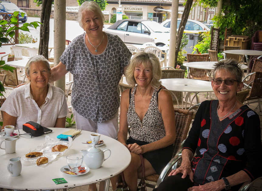 Left to right: Béatrice, Lyndall, Véronique, and Pam at a Monestiés restaurant.