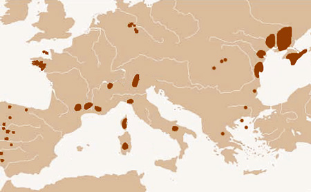 Where the statues menhir have been found in Europe