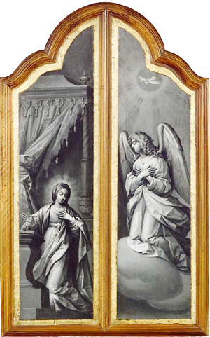 Triptych panels of the Château de Sévérac as oil painting on wood. Painted by Claude Deruet (1588?-1662) during the first half of the 17th century. The Annunciation.