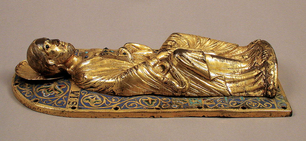 This gilded relief sculpture of Saint James the Great decorated the high altar of the abbey church at Grandmont until the French Revolution. Dated circa 1231. (Metropolitan Museum of Art collection)