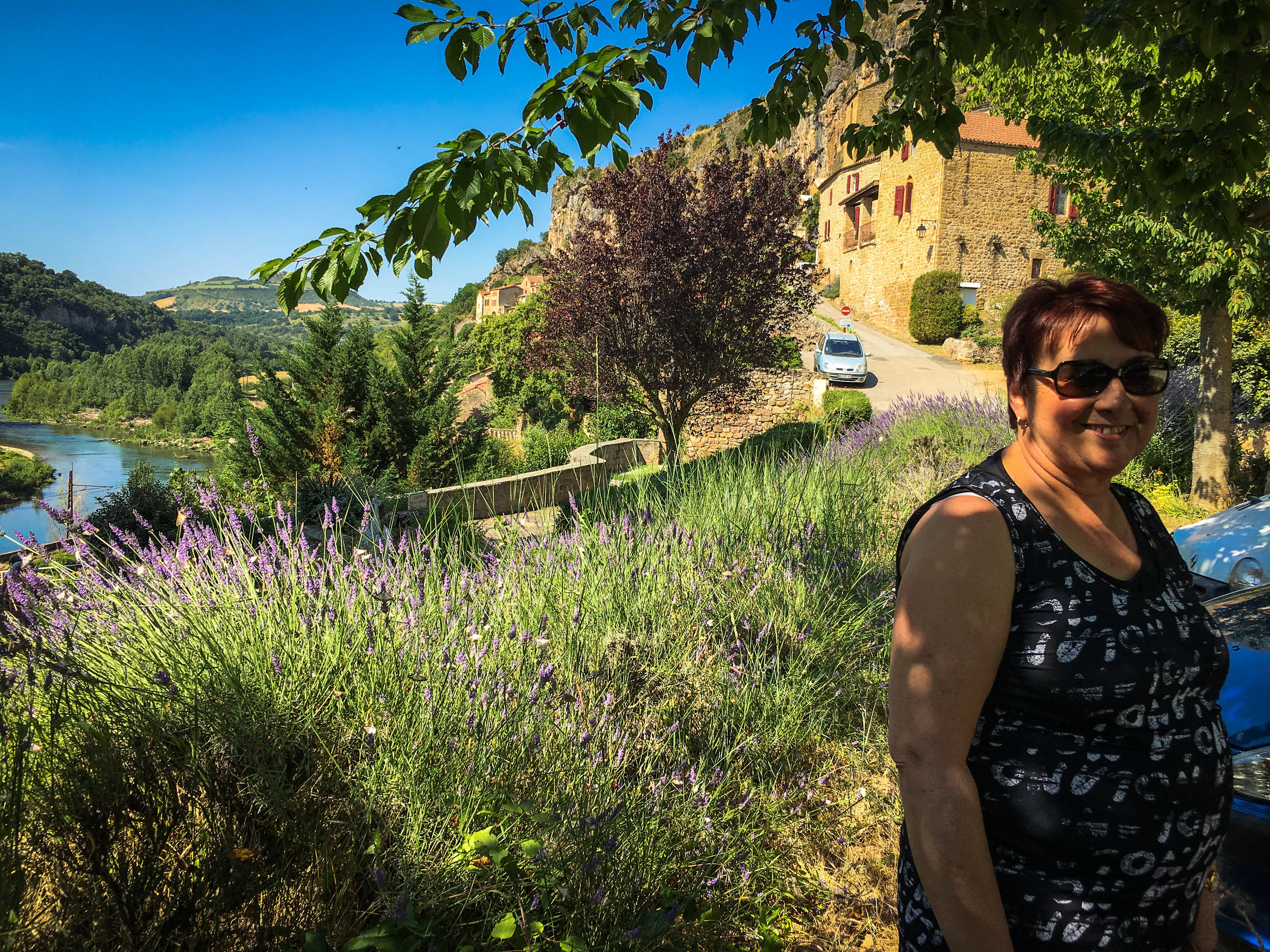 Doris at the semi-troglodyte village of Peyre. And yes, it is lavender right behind Doris.
