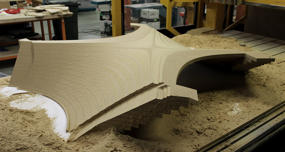 One of the double curvature parts of the mould - milled at RMIT