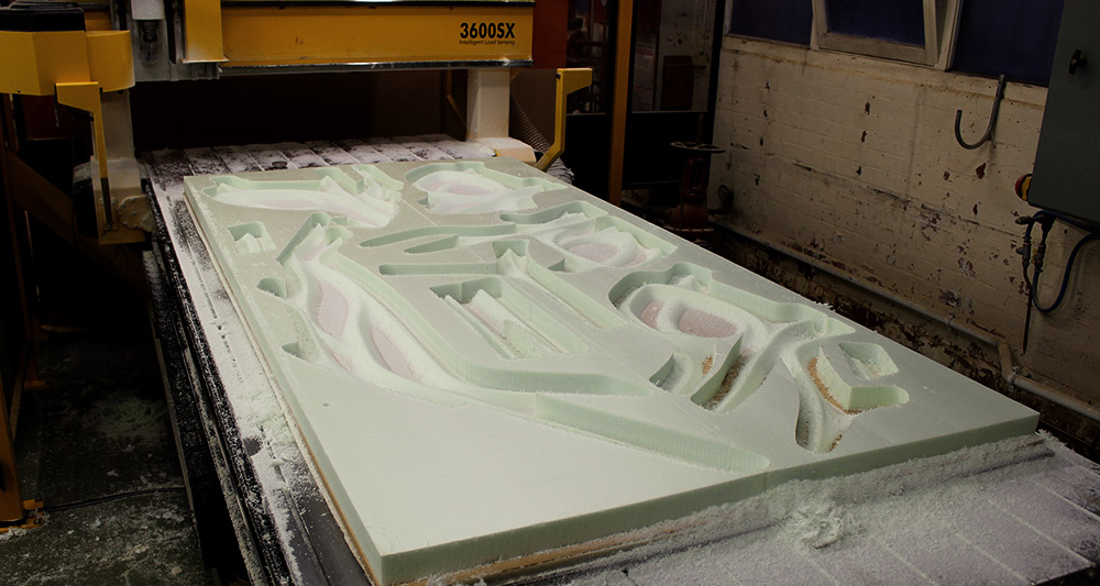 The flat parts of the bodies are milled using a 3 axis mill.