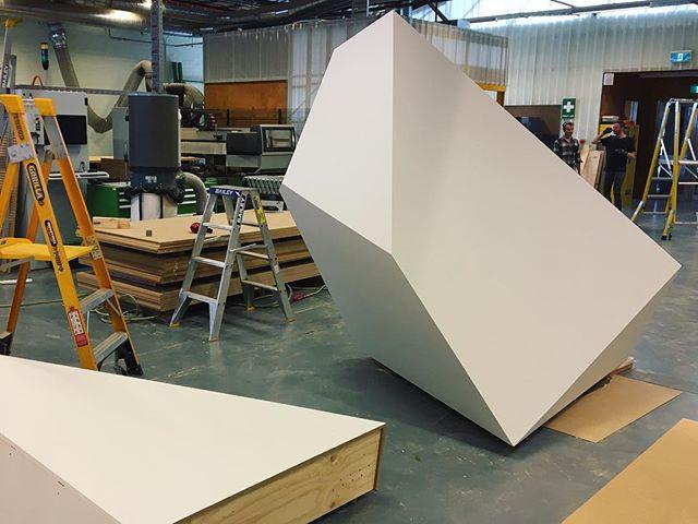 NGV Floe pavilion - timber components starting to come together. Nine of these interlocked boulder-like chunks make up the base of the pavilion. #studiorolandsnooks #rmitarchitecture #ngv