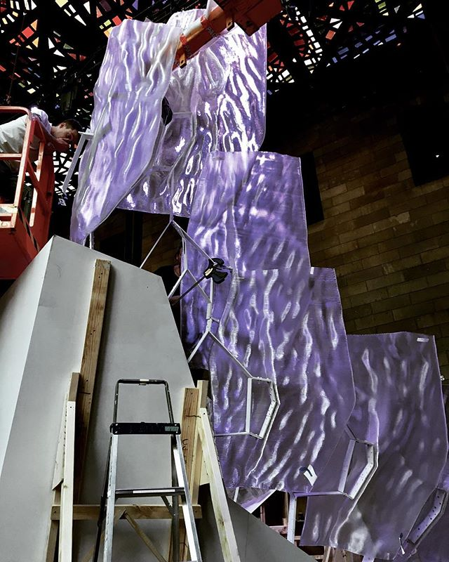 Installing the 3D printed panels for Floe at the #NGV #rmitarchitecture #studiorolandsnooks