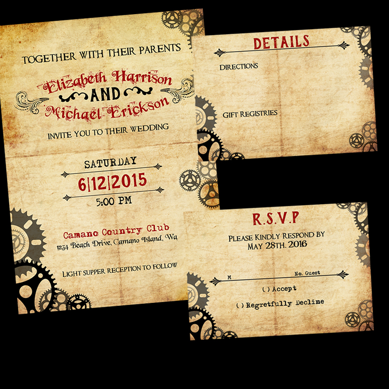 Steampunk Wedding Invitation Suite