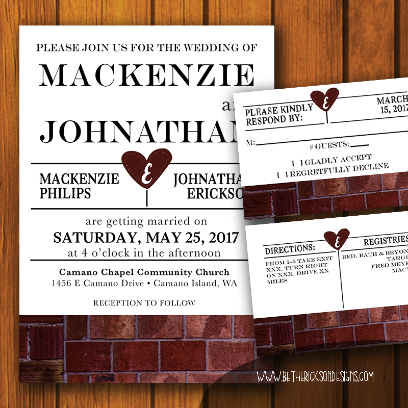 Industrial Brick Wedding Invitation Set