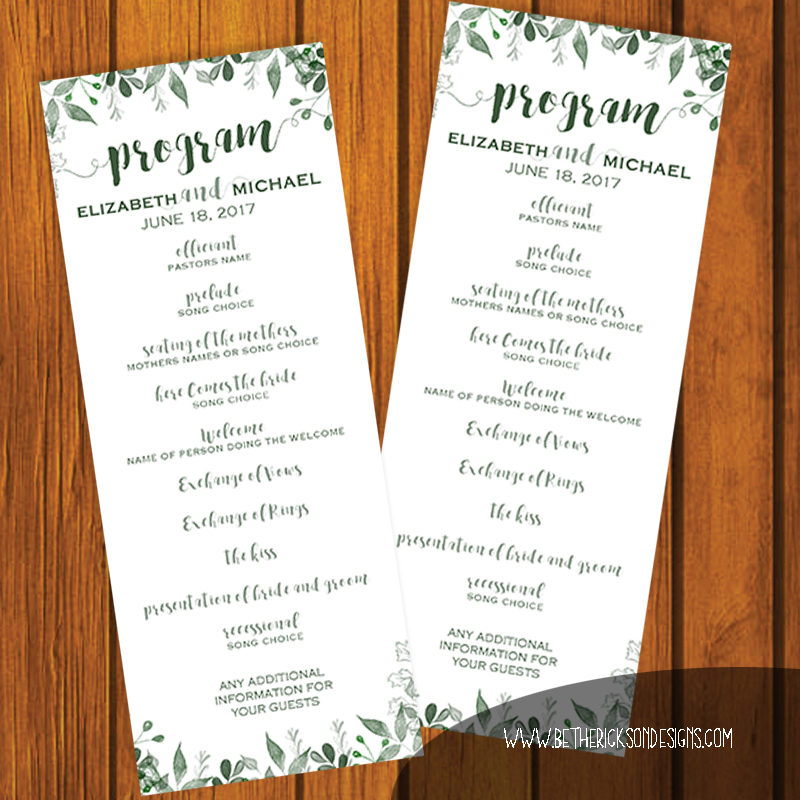 Greenery Wedding Program