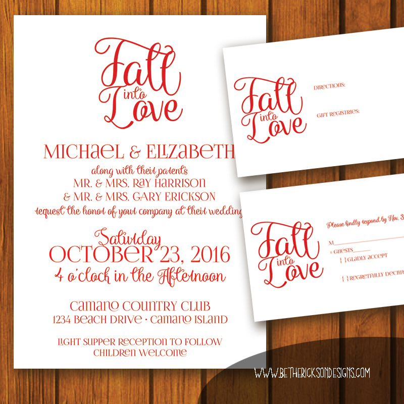Fall Into Love Wedding Invitiaton