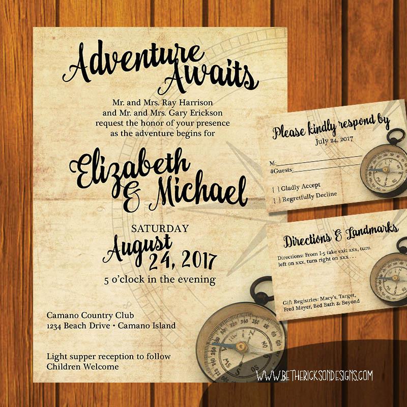 Adventure Awaits Wedding Invitation