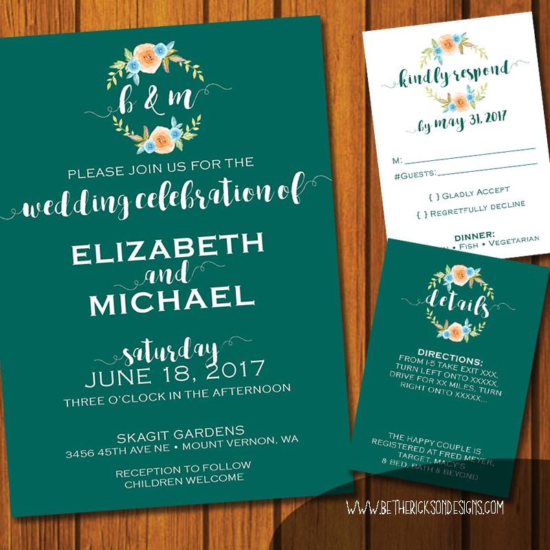 Turquoise Floral Monogrammed Wedding Invititaiton