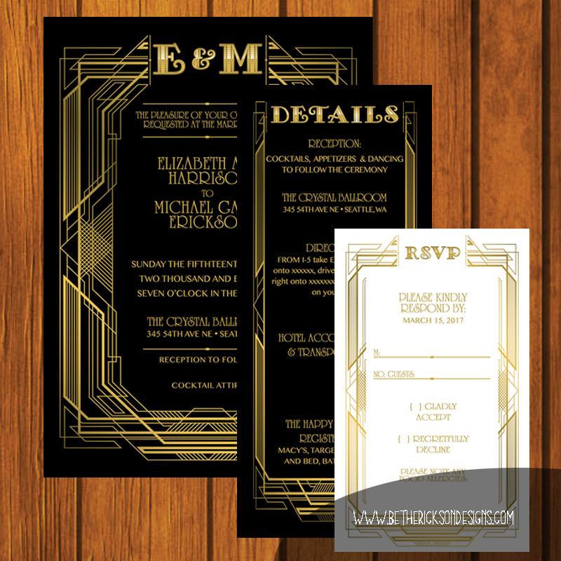 Great Gaspy Black and Gold Wedding Invitation