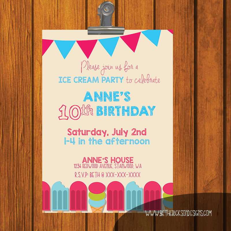 Young Child's Ice Cream Party Invitation