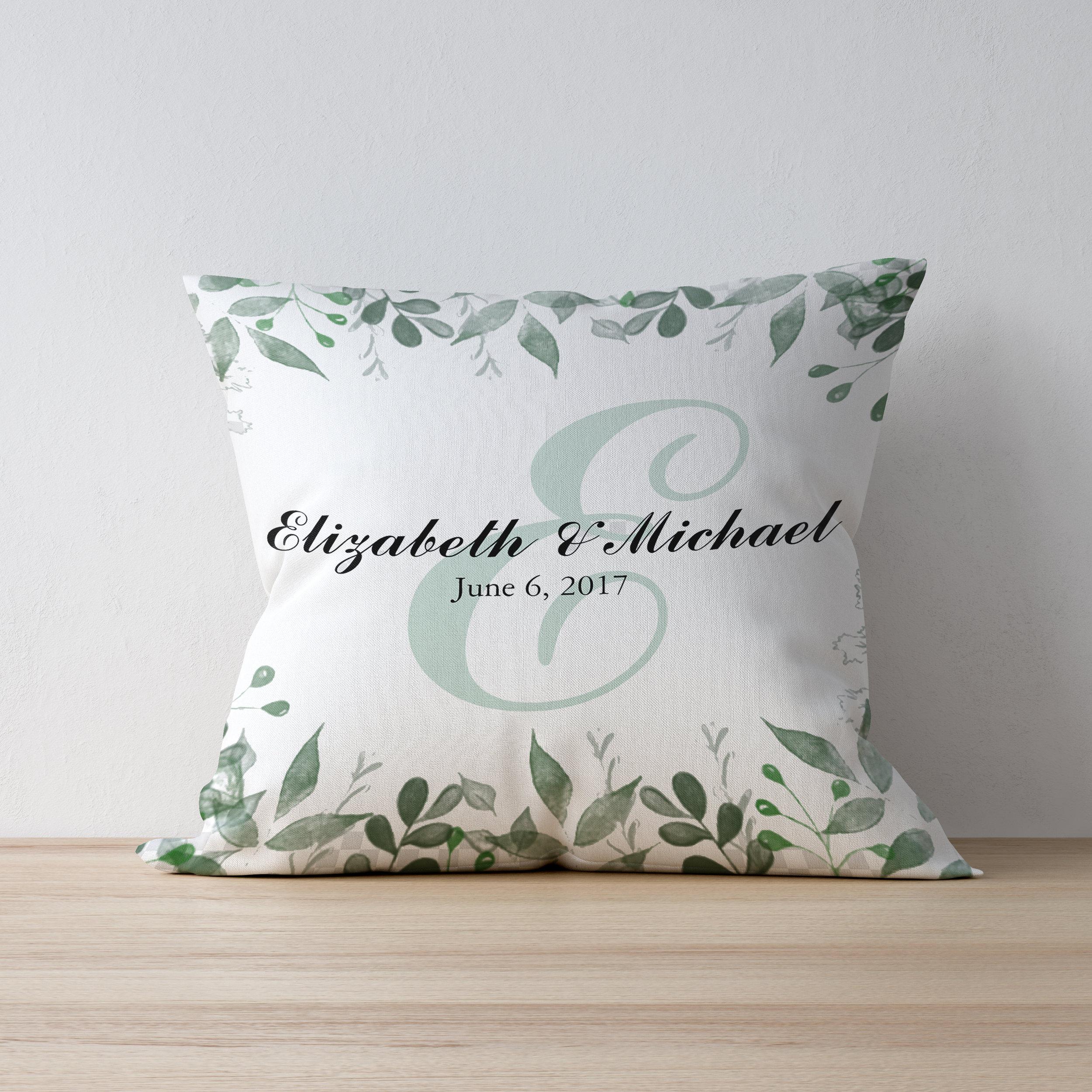 Wedding Date Personalized Greenery Pillow