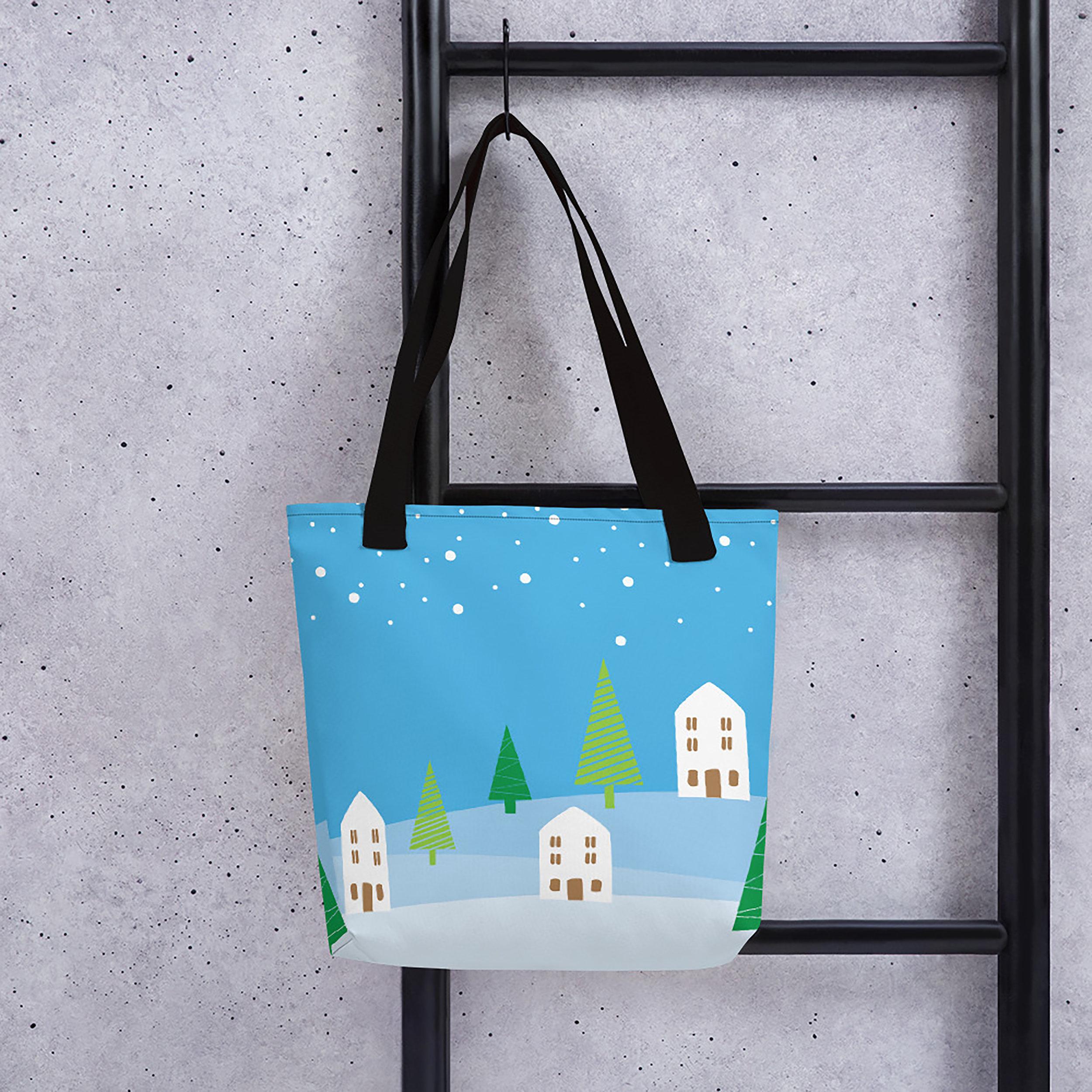 Blue Christmas Village Tote Bag