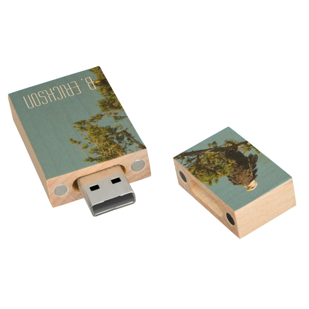 Eagle Personlized Wooden Thumb Drive