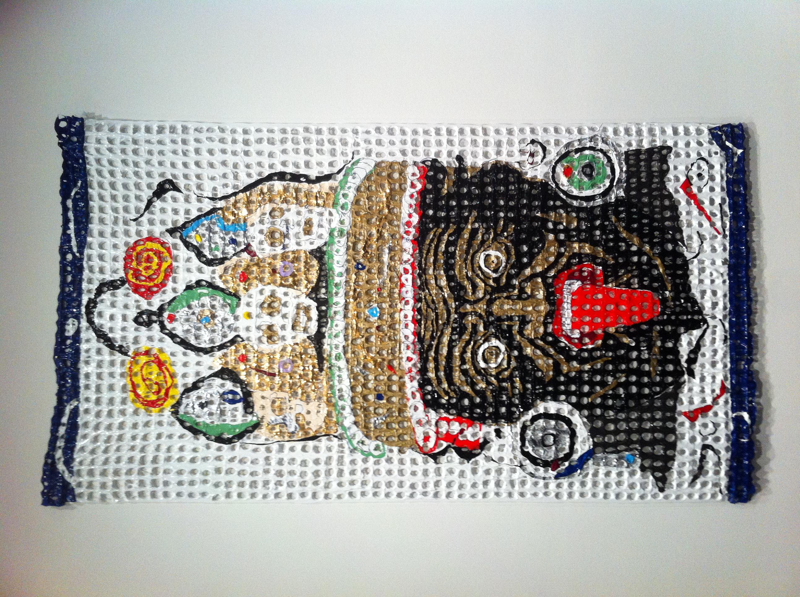 6. Kesang Lamdark, Dorge Drakkten and Kiss,  2012.Melted plastic, acrylic and metallic foil. CU Art Museum