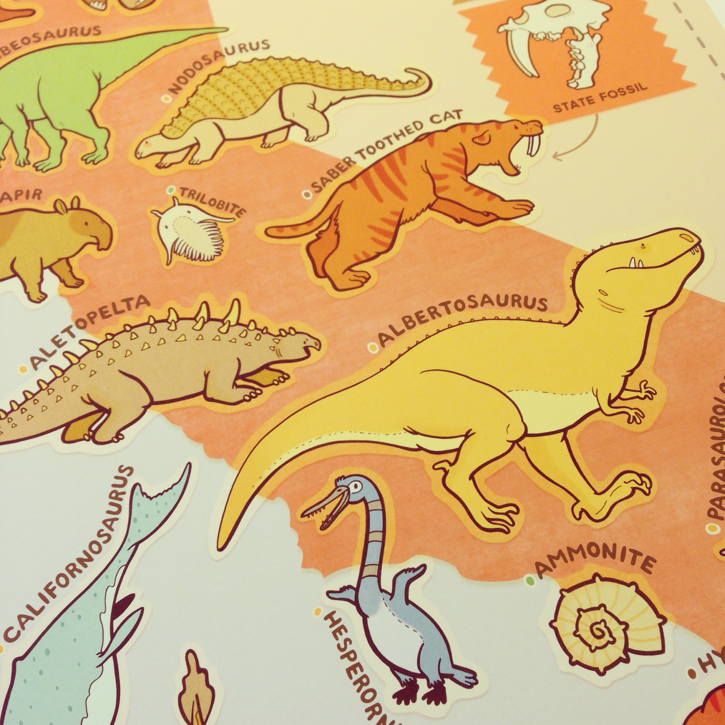 "Detail of the completed ""Prehistoric California"" print by Erica Sirotich."