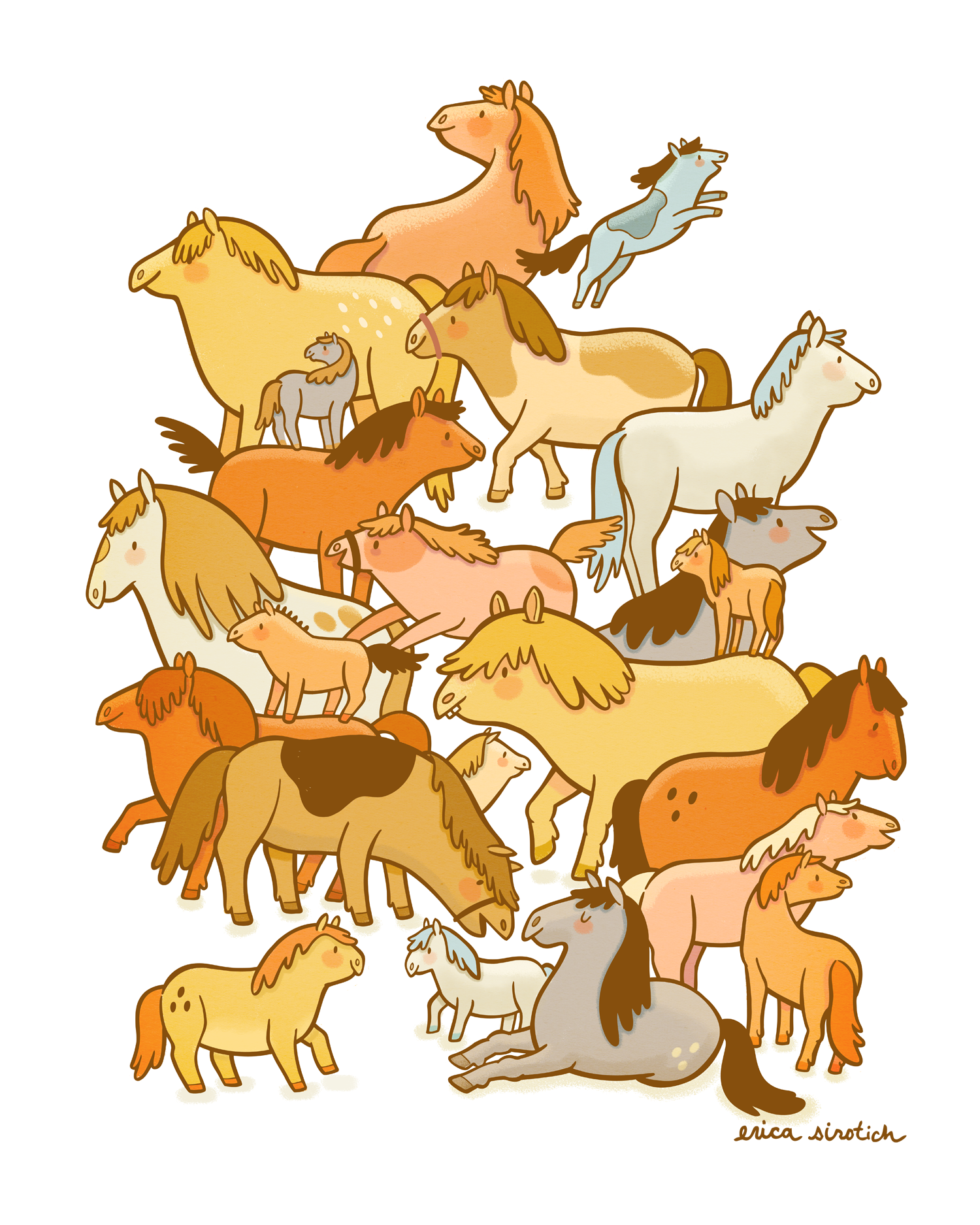 "My ""Pile o' Ponies"" print for Cuddlefish Press, just in time for the New Year."