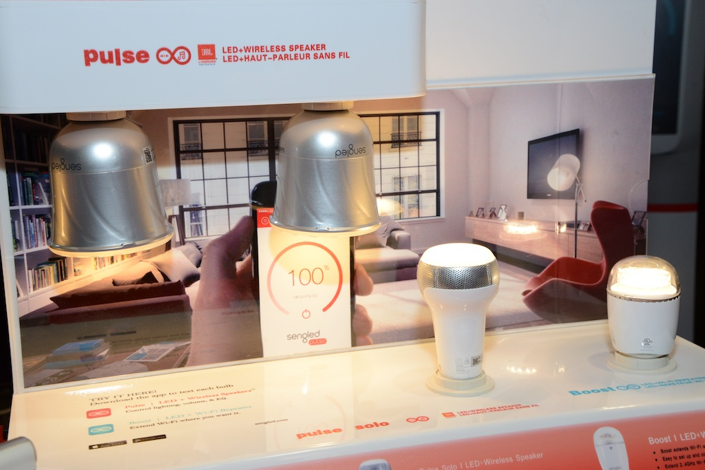 These LED bulbs by Sengled that we spotted at the Internationaal Builders Show can also be a speaker, security camera or wifi device!