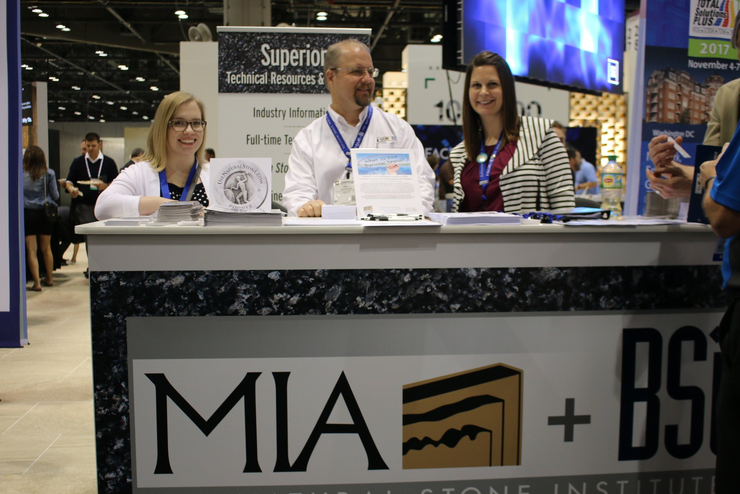 MIA+BSI: The Natural Stone Institute staff answers questions and shares resources at Coverings Photo: Lisa Stewart Photography