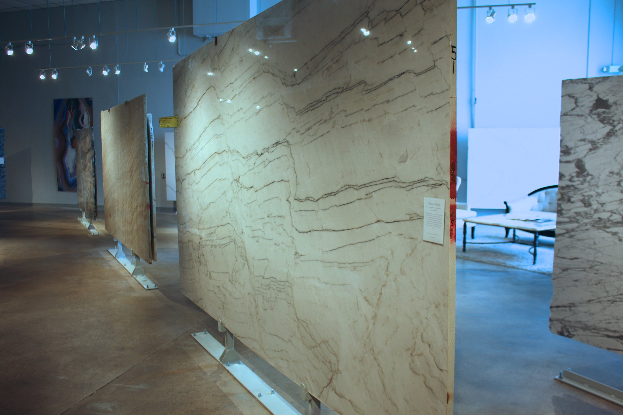 Allied Stone  has over 110 slabs on display in their climate controlled showroom Photo: Lisa Stewart Photography