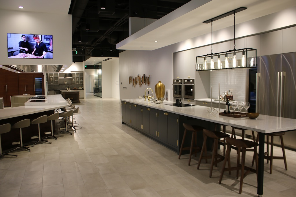 One of the vignettes and demo kitchen in the SKS Experience and Design Center