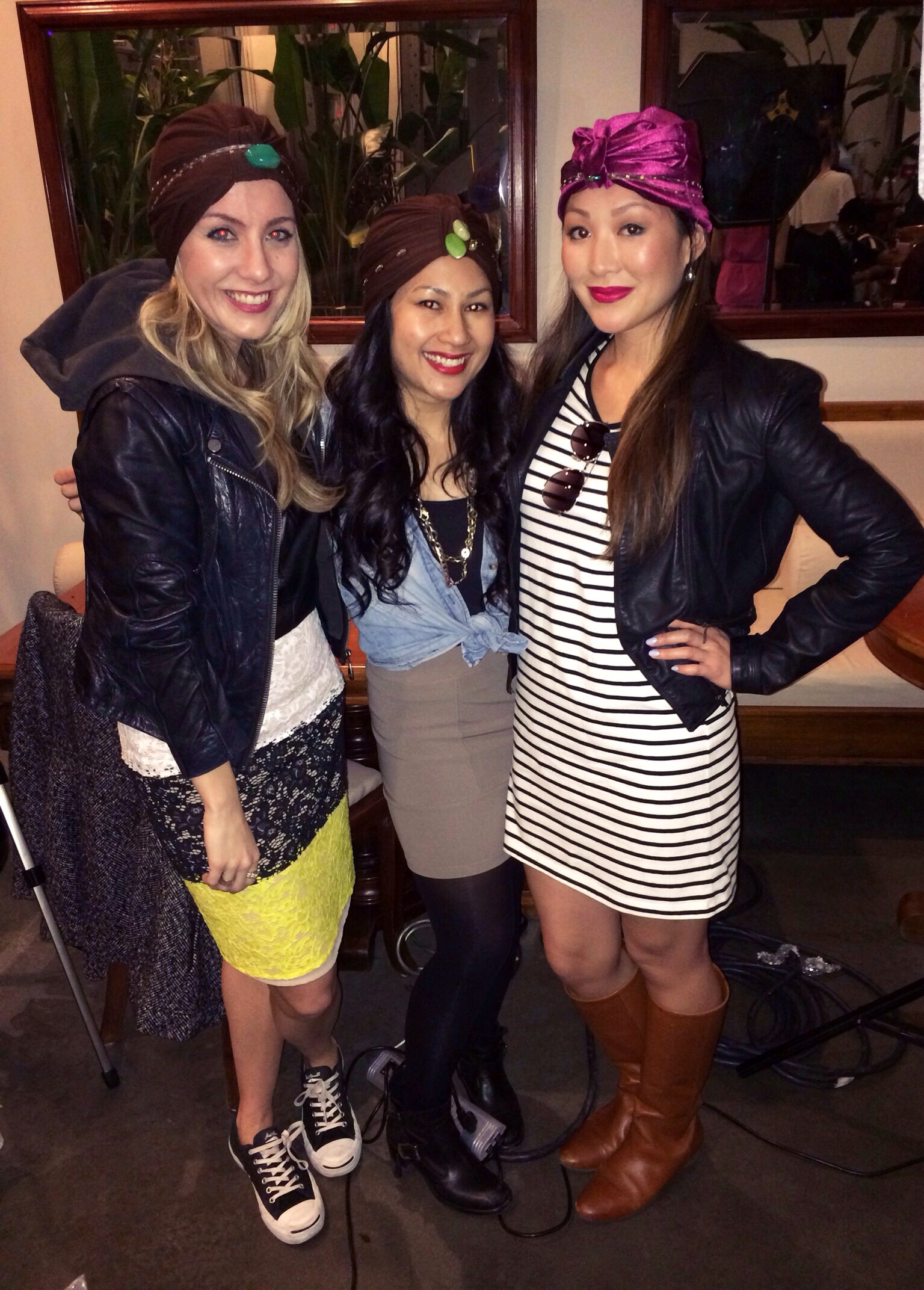 Wearing our finished products! With Ashley of  Impossibly Imperfect , and Gita of  MimiandChichi