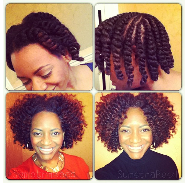 Twist Out (left) vs. Flat Twist Out (right)
