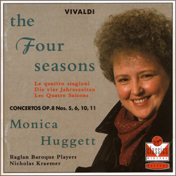 I chose this recording blind, on a never-before heard label, as a contrast to the  Four Seasons  I first heard by Simon Standage and the English Concert via a CD borrowed from the library. Many more recordings by Ms. Huggett would follow.