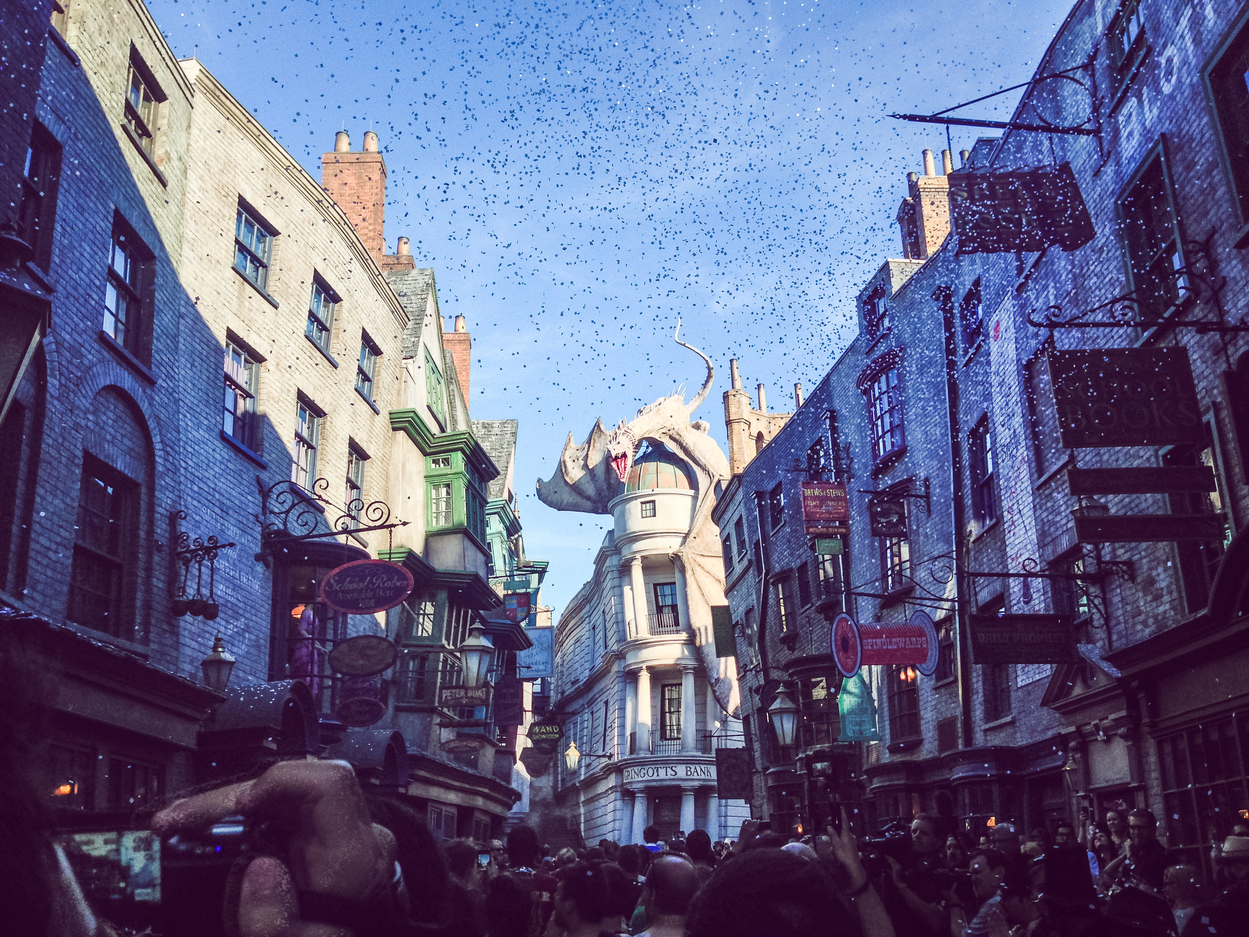 "july 8th, 2014.    no time for sleeping. best friends. hundreds of die hard harry potter fans cheering at the universal gates at 5am. sprinting through the park to reach london first. anticipation. owls in your tummy. hedwig's theme blaring. opening ceremonies. fireworks. more running. turning that corner and seeing diagon alley for the first time. confetti. wizards clapping for you on both sides and shouting ""welcome to diagon alley!"" as you walk down a red carpet towards a fire breathing dragon. crying. weasley's wizard wheezes. more crying. escaping gringotts. bellatrix lestrange casting a spell on your cart causing you to plummet into the pits of gringotts. chills. screams. BILL WEASLEY BEING A STAR. voldemort being a sexy beast. more screaming. butter beer ice cream. knockturn alley. magic around every single corner.    i had been sad that i was missing out on the ""soft"" openings at diagon alley before this day. bitter that i didn't have the chance to see it for myself and having to look at a constant slew of pictures. it turns out that waiting for opening day was the best decision i could make. nothing, and i mean nothing, could ever compare to the feeling we all had during the opening ceremony this morning. walking into diagon alley on a red carpet, with witches and wizards clapping on either side of us, welcoming us home. confetti falling from the sky. childhood dreams coming true with every step we took, every glance we made.     today, we went down in harry potter history."